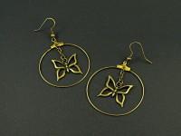 Boucle bronze anneau et papillon bronze