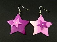 Boucles d'oreilles originales étoiles violettes