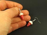 Boucles d'oreilles mini glaces aux cornets roses glossys