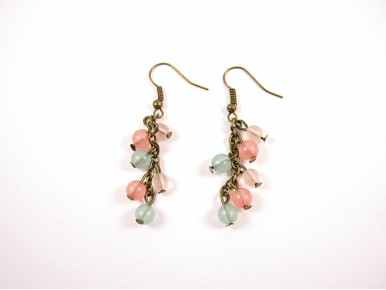 Grappes de perles an boucles d'oreilles