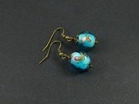 Boucle d'oreille perle de verre et bronze