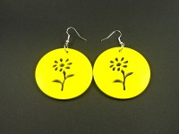 Boucles d'oreilles en bois jaune