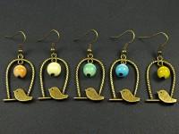 Boucles d'oreille cage perchoir avec des perles