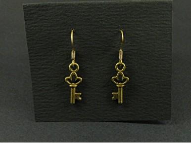 Boucles d'oreilles clés couleur bronze
