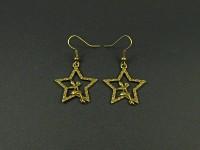 Boucles d'oreilles fantaisie couleur bronze fée clochette sur une étoile