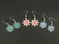 Boucles d'oreille métalliques fleurs émaillées