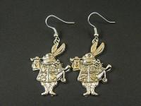 Boucles d'oreilles lapin d'Alice aux pays des merveilles en métal argenté