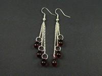 Boucles d'oreilles avec perles de verre en forme de gouttes