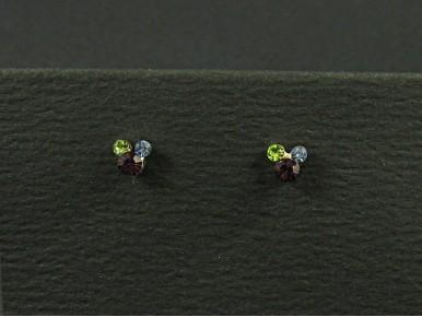 Boucles d'oreille format puce composée de 3 strass couleurs différentes