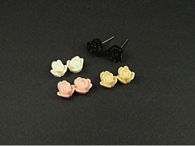 Boucles d'oreilles puces fleurs