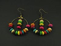 Boucles d'oreilles anneaux bronze décorés de perles bois multicolores