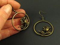 Boucles d'oreilles fantaisie bronze anneau tige et rose