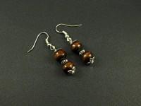 Boucles d'oreilles double perles en bois