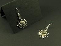 Boucles d'oreilles argentées breloques soleil