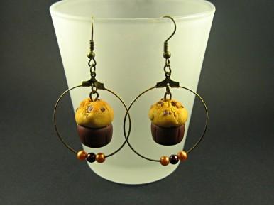Boucle d'oreilles muffins et anneaux perlés