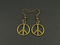 Boucles d'oreilles peace and love couleur bronze
