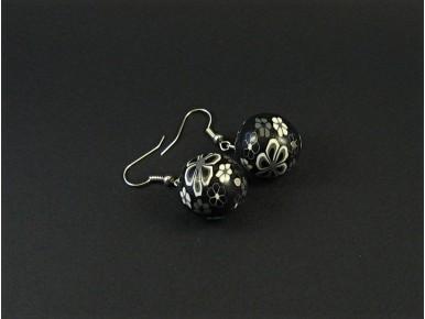 Boucles d'oreilles fantaisie perle fleurie en fimo