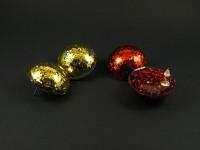 Puces d'oreilles fantaisie demi-sphère en résine gorgée de paillettes rouge ou or