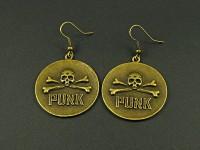 Boucles d'oreilles fantaisie PUNK disque avec crâne et os finition bronze