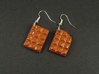 Boucles d'oreilles artisanales tablettes de chocolat blanc croquées