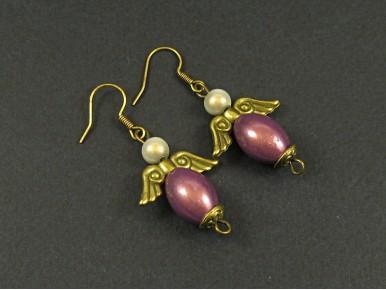 Boucles d'oreilles perles magiques et ailes d'ange