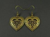 Jolies breloques coeurs filigranés couleur bronze