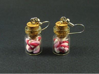 Boucles d'oreilles fioles torsades roses
