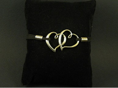 Bracelet argenté coeurs entrelacés et suédine noire