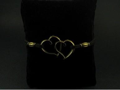 Bracelet fantaisie coeurs entrelacés couleur bronze