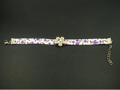 Bracelet fantaisie motif tissu fleuri violet