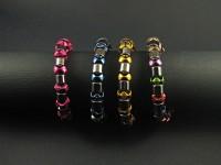 Bracelet fantaisie hématites et rondelles de plastique