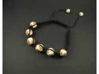 Bracelet shamballa perles ton beige en argile polymère