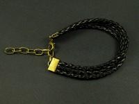 Bracelet tressé noir et fermoir bronze