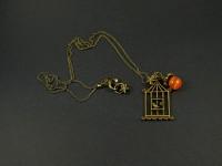 Collier chaine couleur bronze avec pendentif cage