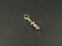 Charm fantaisie triple perles rose