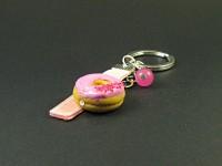 Porte-clé gourmand donut rose et son ruban