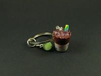 Porte-clés pot à boire avec une paille arc-en-ciel