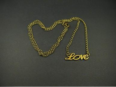 Collier fantaisie LOVE couleur bronze