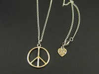 Collier fantaisie argenté brillant 'Peace and Love'