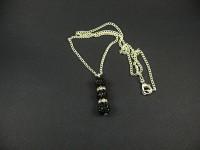 Collier fantaisie strassé noir et blanc transparent
