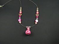 Collier multi-perles roses