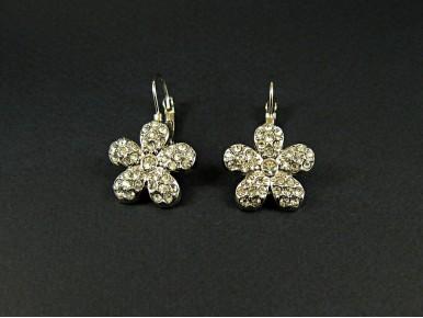 Boucles d'oreilles fleurs strassées