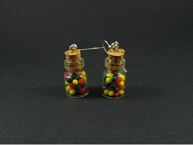 Boucles d'oreilles mini bocal multicolore