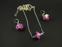 Parure artisanale boucles et collier toupie violette