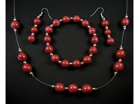 Parure artisanale perles irisées