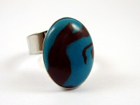 Bague sertie aspect turquoise