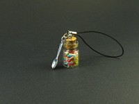 Bijou de téléphone mini bocal de verre rempli de bonbons vermicelles